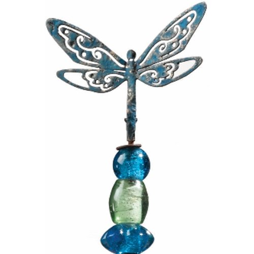 Garden Stake Handcrafted Decor Dragonfly Glass Charm (14H) - Regal Art #T127