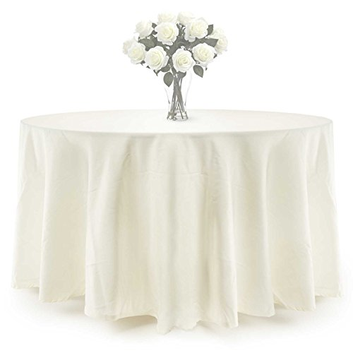 "Lann's Linens Premium Polyester Tablecloth - for Wedding, Restaurant or Banquet use - 132"" Round, Ivory Cream"