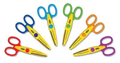 School Smart Paper Edger Scissors - Set of 6 - Assorted Colors