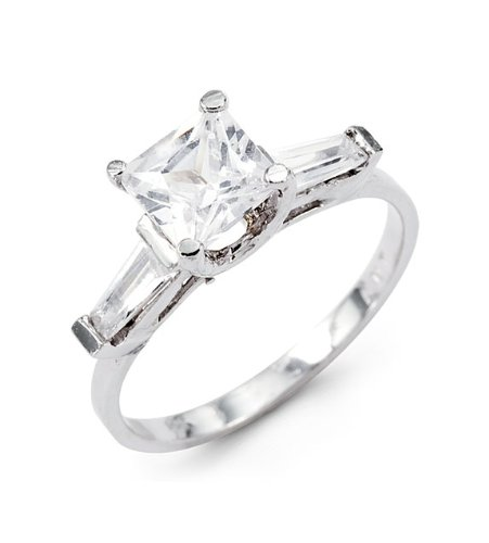 New 14k White Gold Princess Baguette CZ Engagement Ring
