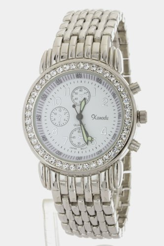 Trendy Fashion Jewelry Crystal Bezel Fashion Bracelet Watch By Fashion Destination   (Silver)