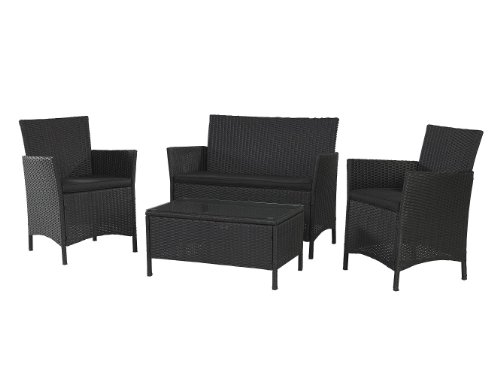 Cosco Products 4-Piece Outdoor Jamaica Resin Wicker Conversation Set
