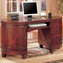 Buy Low Price Comfortable Desks Traditional Kidney Shaped Double Pedestal Computer Desk by Coaster (B0051PEC3A)