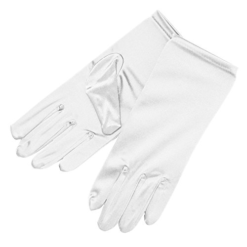 ZaZa Bridal Shiny Stretch Satin Dress Gloves Wrist Length 2BL-White