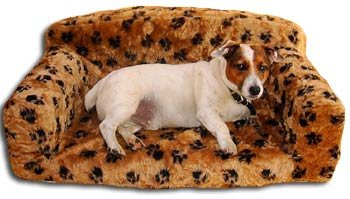 Monster Size Classic Dog Settee With Paw Print Design In Biscuit Faux Fur From ExtraComfort 96x61x34cm (37.8x24x13.4 inches)