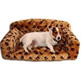 Monster Size Classic Dog Settee With Paw Print Design In Biscuit Faux Fur From ExtraComfort 96x61x34cm (37.8x24x13.4 inches)by Extra Comfort