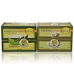 GTEE Green Tea Bags - Regular & Tulsi Tea Bags (25 Tea bags X 2PACKS)