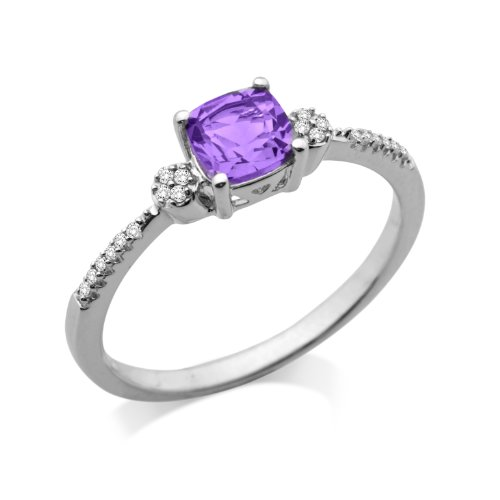 Miore 9ct White Gold Amethyst and Diamond Shoulder Set Engagement Ring MSJ905R