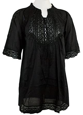 Ravel Fashion Black Colored Peasant Blouse 1/2 Sleeve, Tie Neck with Lace Trim Hem & Sleeves