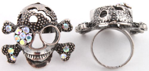 Ladies Black with Clear AB Skull and Crossbones Adjustable Finger Ring with an Iced Out Eye