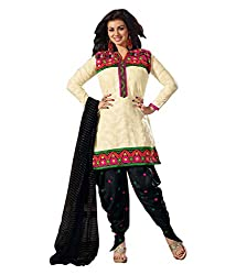 Divisha Fashions Womens Dress Material Off White and Black Embroidered Cotton Dress Material with dupatta