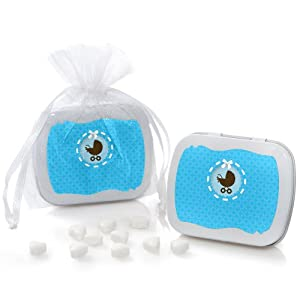 Boy Baby Carriage - Mint Tin Party Favors (set of 12)