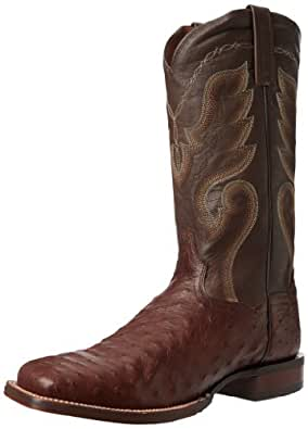Dan Post Men's Full Quill Ostrich Cowboy Certified Boot Wide Square Toe Tobacco US