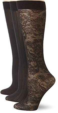 Anne Klein Women's 3 Pack Paisley Trouser Sock, Black, One Size