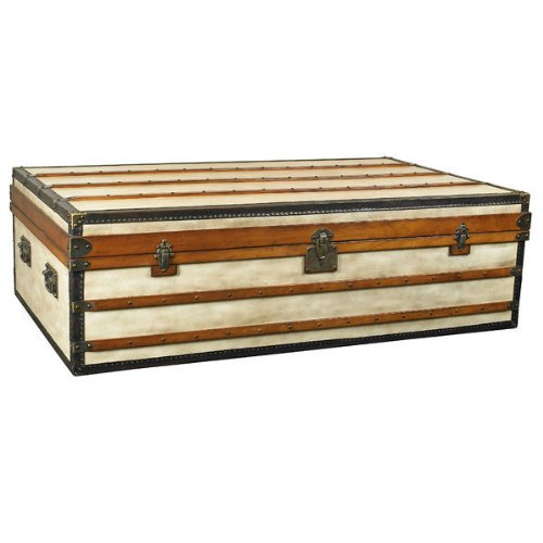Small Polo Club Trunk - Storage Coffee Table - Features Solid Wood Frame Covered In Distressed Canvas With Brass Accents - Includes 2 Red Serving Trays Inside - Authentic Models Mf089