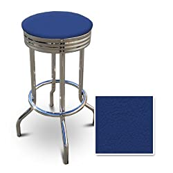 29'' Specialty Chrome Barstools (1 Stool) (Blue Vinyl)