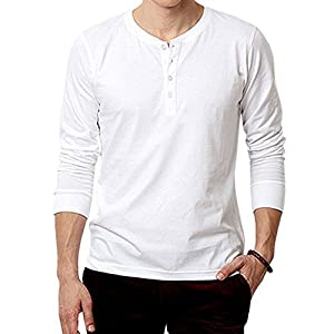 Softwear Mens White Henley Full sleeve T-shirt