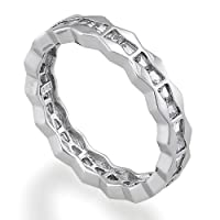 Sterling Silver Ring Baguette Cut Cubic Zirconia CZ Eternity Band