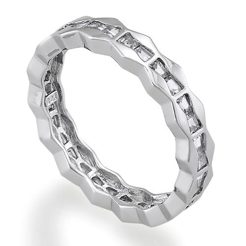 Sterling Silver Ring Baguette Cut Cubic Zirconia CZ Eternity Band - Women's Engagement Wedding Band Ring Size 7