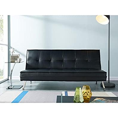 Ventura-Banqueta sofá cama en sintética 3plazas-180x 109x 72cm-negro