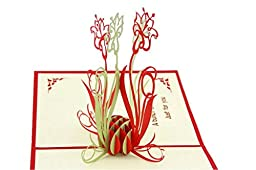IShareCards® Handmade 3D Pop Up Thank You Cards With Envelopes Greeting Cards Flower (Greeting Cards)