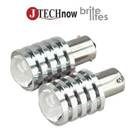 Jtech 2x 1156 BA15S 10W Cree R5 LED Pure White Car Light Bulb