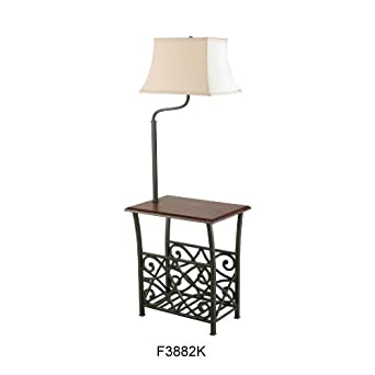 End Table With Build In Floor Lamp Amp Magazine Holder Rack