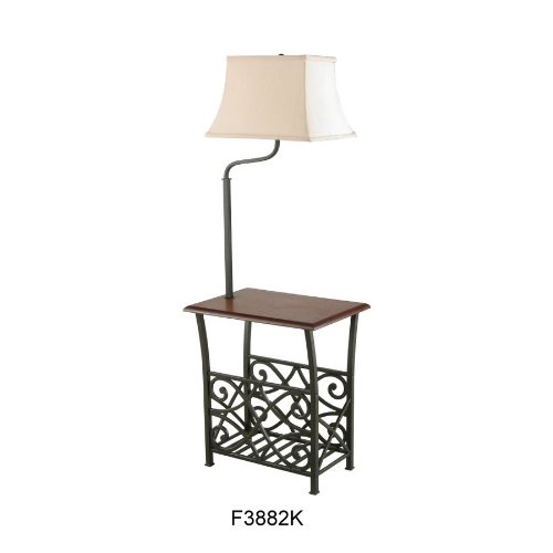 Traditional end table with attached lamp and magazine rack