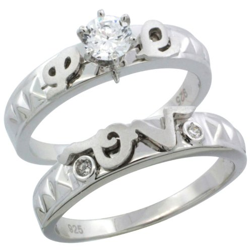 Sterling Silver 2-Piece 1/2 Carat Size 5 mm Engagement Ring Set CZ Stones Rhodium finish, 3/16 in. 5 mm, Size 5