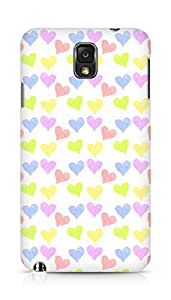 Amez designer printed 3d premium high quality back case cover for Samsung Galaxy Note 3 (colourful hearts )