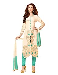Suchi Fashion Cream & Turquoise Embroidered Satin Cotton Semistitched Salwar Suit