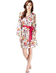 Limited Collection Retro Floral Dressing Gown with Modal
