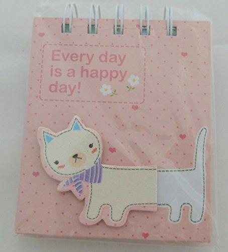 Kawaii Katze Gestanzte Schmuck Cover Design - Spiral Bound Kleine Notizbuch - Weiße Katze Rosa Notizbuch
