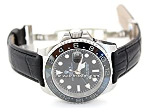 20mm Classic Black Crocodile Grain' Leather Watch Strap butterfly deployment clasp For Rolex GMT-Master II