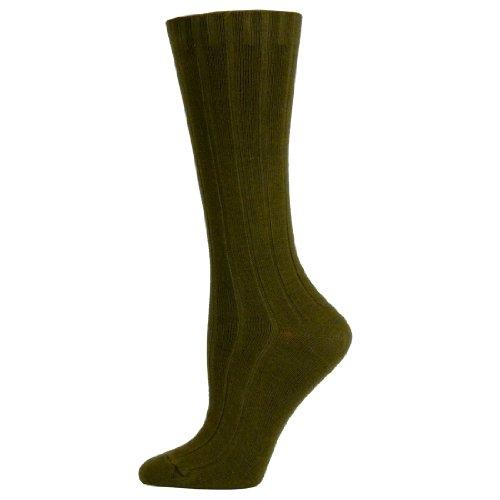 2 Brothers Dress Rib Organic Cotton Crew Sock (Olive - Medium)