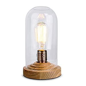 Designer Antique Oak Effect Wood Base And Clear Glass Dome Table Lamp - Supplied With 60w ES E27 Squirrel Cage Steampunk Light Bulb