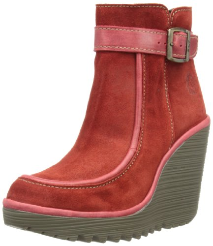 Fly London Womens Clue Boots P500409002 Red/Red 5 UK, 38 EU