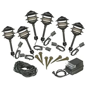 Low Voltage Outdoor Lighting Kit: Six Light Pagoda Black Low Voltage Landscape Light Kit