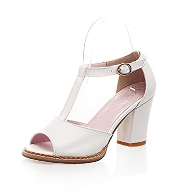 Balamasa Womens Buckle Solid High Heels Sandal Shoes