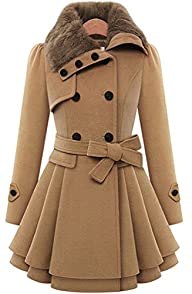 VIISHOW Women's Fashion Faux Fur Lapel Double-breasted Thick Wool Trench Coat Jacket