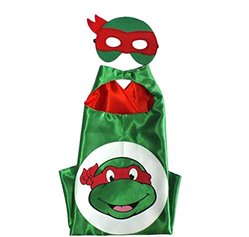 Cartoon Costume - TMNT Raph Turtle Logo Cape and Mask with Gift Box by Superheroes