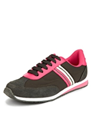 Leather Lace Up Retro Trainers