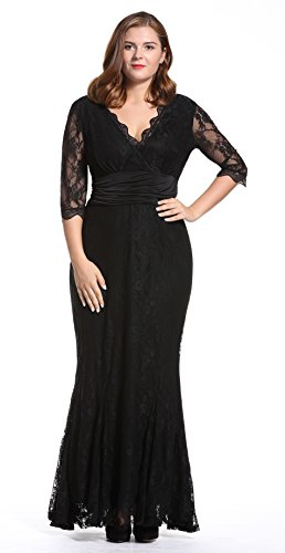 Dilanni Women's Plus Lace 1/2 Sleeves Long Bridesmaid Prom Homecoming Gown Dress Black 2X