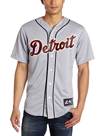 MLB Detroit Tigers Justin Verlander Road Gray Replica Baseball Jersey, Road Gray by Majestic