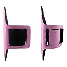 buy Black Menba Sports Gym Running Biking Jogging Excercise Workout Adjustable Armband Case For Apple Iphone 6 4.7 Inch & Samsung Galaxy S6 / S6 Edge 5.1 Inch (Pink)