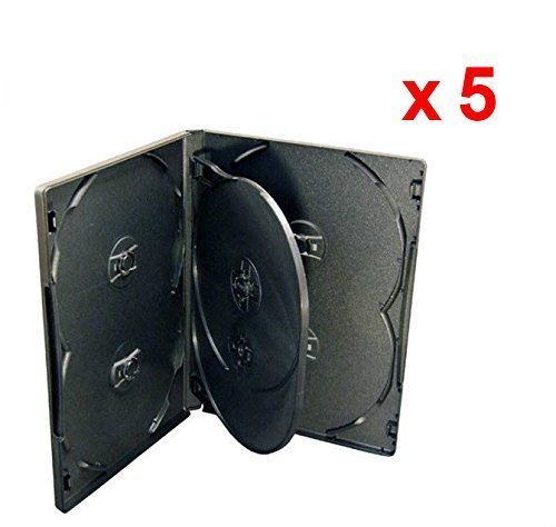 MasterStor - Contenitore 6 DVD/CD, 14 mm, colore: nero, confezione da 5