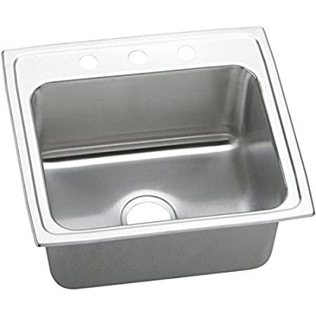 Elkay DLR2219101 1-Hole Gourmet Lustertone Stainless Steel Single Basin Kitchen Sink, 22-Inch x 19-1/2-Inch