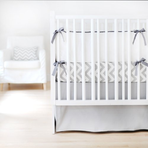 New Arrivals Sweet and Simple Crib Bedding Set, Gray, 3 Piece