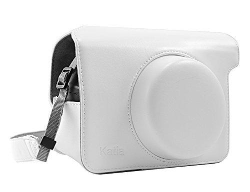 Katia Case Bag Retro en cuir PU Caméra de protection avec bandoulière pour Fujifilm Instax Wide 300 instantanée Film Caméra - Blanc