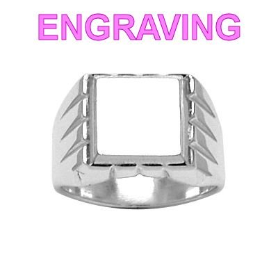 So Chic Jewels - 925 Sterling Silver Grooved Contour Square Support Signet Ring - Your Message Engraved Free